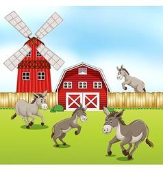 Donkeys in the farmyard vector