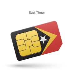 East timor mobile phone sim card with flag vector