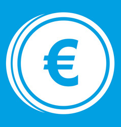 Euro coins icon white vector