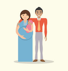 Family couple pregnancy and baby vector