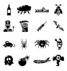 Fears phobias icons set simple style vector