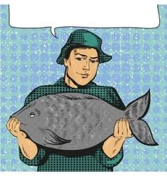 Fisherman holding big fish vector