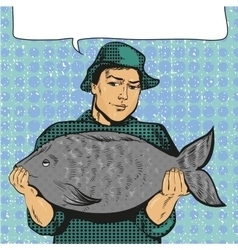 fisherman holding big fish vector image