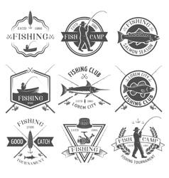Fishing Club Black White Emblems Set vector image vector image