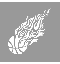 flame fire ball grey basketball symbol icon vector image vector image