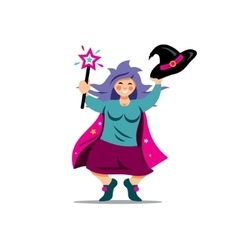 Halloween witch with magic wand cartoon vector