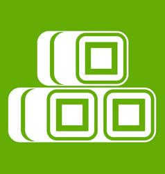 Hay bundles icon green vector