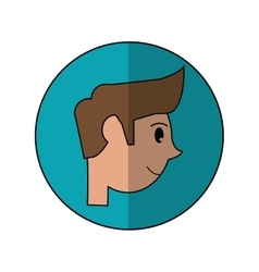 Head young man smiling side shadow vector