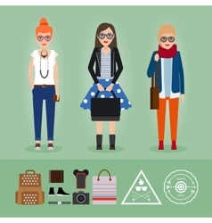 Hipster girls with accessories vector image vector image