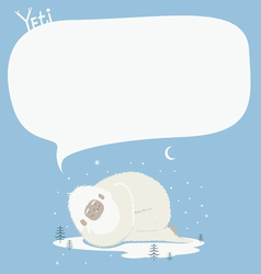 Holiday post card with sleeping yeti vector image
