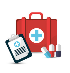 Hospital prescription pill capsule suitcase icon vector