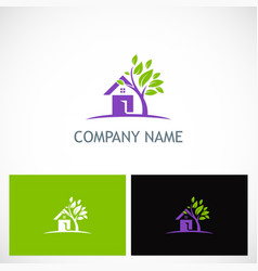 house tree garden environment logo vector image vector image