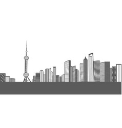 isolated cityscape of shanghai vector image vector image