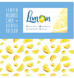 lemon cafe watercolor business card template vector image vector image