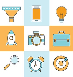 Line icons with flat design elements of customer vector image vector image