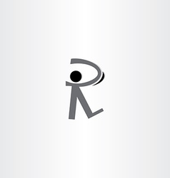 Man walking black icon letter r logo vector