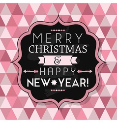 Merry christmas and happy new year vintage badge vector