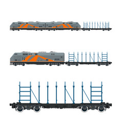 Orange locomotive with railway platform vector