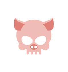 Pig skull isolated pink swine skeleton head vector