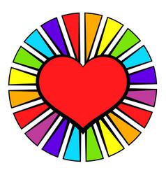 Rainbow heart with color rays icon icon cartoon vector