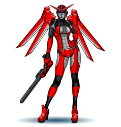 Robot female transformer red vector