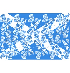 Scottish flag with ornaments of flowers thistle vector image