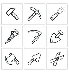 Set of work tools icons repair mine vector
