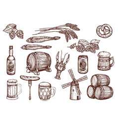 Sketch icons of beer snacks and brewery vector