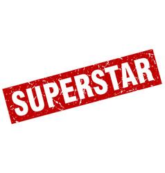 Square grunge red superstar stamp vector
