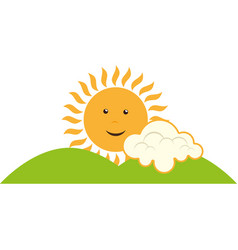 Summer sun character icon vector