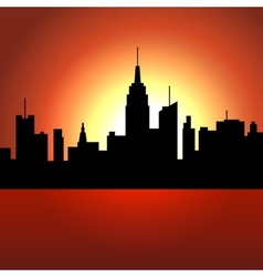 Sunset over City Skyscrappers Silhouette vector image vector image