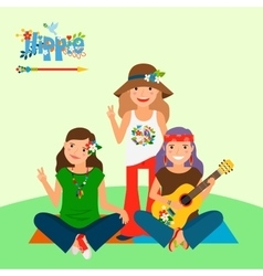 Three hippie girls and guitar vector image vector image