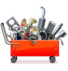 Toolbox trolley with car spares vector