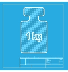 Weight simple sign White section of icon on vector image