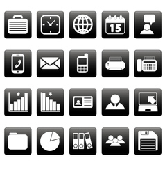 White business icons on black squares vector image