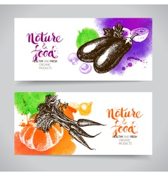 Eco food banners set watercolor and hand drawn vector
