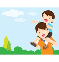 Son sit on dad shoulder look sky vector