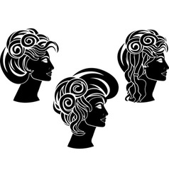 Set of hairstyles stencil vector
