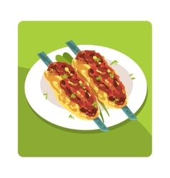 Kebab Famous Touristic Attraction Of United Arab vector image