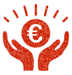 Euro prosperity icon grunge watermark vector