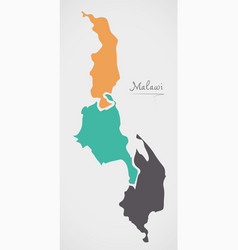 Malawi map with states and modern round shapes vector