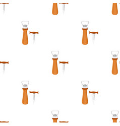 Corkscrew and bottle-opener icon in cartoon style vector