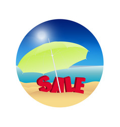 Summer sale background beach sun umbrella and vector
