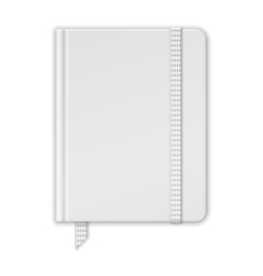 Blank white notebook copybook template with band vector