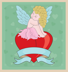 Little Cupid Girl Valentine vector image