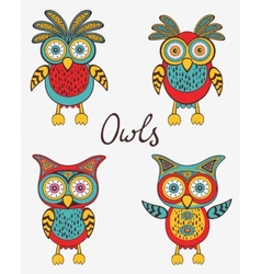 Cute colorful owls set vector image