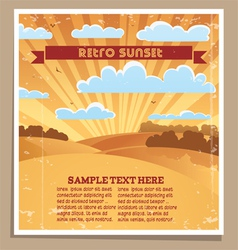 Landscape retro sunset poster vector