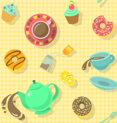 Tea party pattern vector