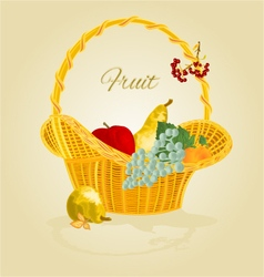 Fruit in a wicker basket healthy food vector