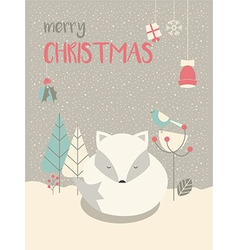 Cute arctic christmas sleepy baby fox vector